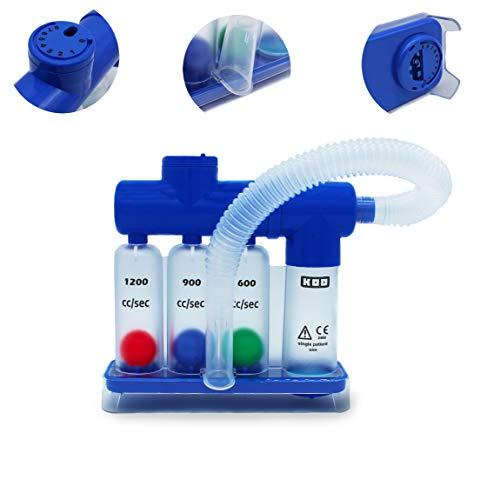 MedX5 (Upgrade 2020) Lungentrainer KM-805, 3-Kammer Atemtrainer mit 2 verstellbaren Ventilen mit...