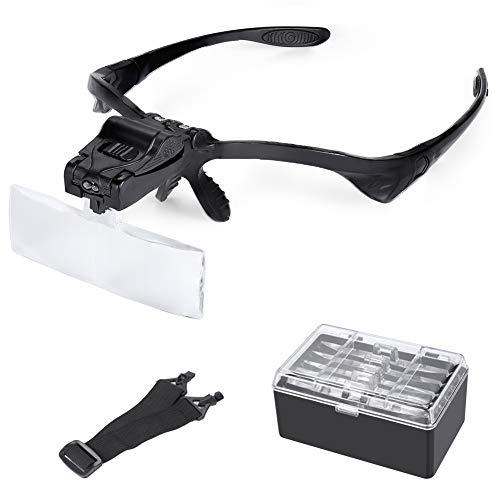 HooAMI Lupenbrille mit Licht LED Kopfbandlupe Vergrößerungsbrille Brillenlupe mit beleuchtung für...