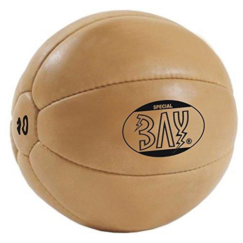 BAY® LEDER PU 10 Kilo Medizinball, Profi-Qualität, Gymnastik / Fitness Ball, Farbe BRAUN, zehn...