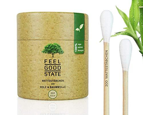 200 Wattestäbchen aus Holz von Feel Good State l inkl. Spender-Box im Bambus-Design l 100%...