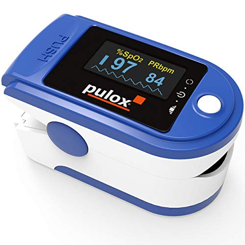 Pulsoximeter PULOX PO-200 Solo in Blau Fingerpulsoximeter für die Messung des Pulses und der...