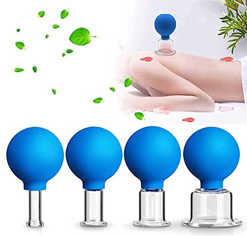 Shunfaji® Schröpfgläser mit Saugball,4er Schröpfglas-Set mit Ball, Aus Echtglas Hochwertige...
