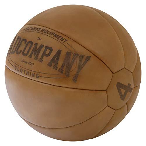 Bad Company Vintage Leder Medizinball in 10 Gewichtsstufen l Vollball aus hochwertigem Echtleder in...