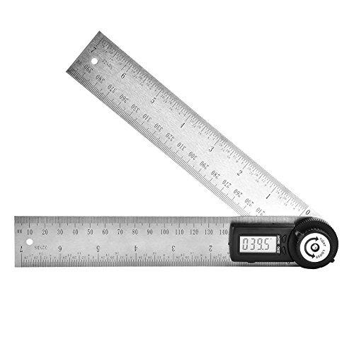 Digitaler Winkelmesser 200 mm Edelstahl Elektronischer Goniometer Winkelmesser Gehrungsmesser Lineal...