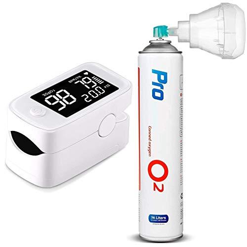 Maclean PR-870 Pulsoximeter + PR-994 Medizinischer Sauerstoff 14L o2 99,4% mit Mundstück...