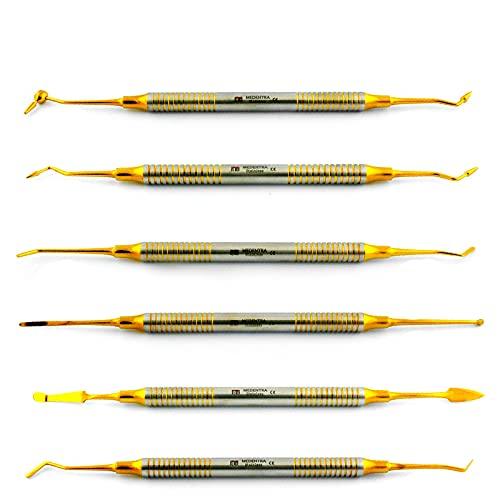 MEDENTRA Kieferorthopädisches Füllinstrument-Set, goldfarben, 6 Stück