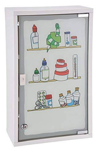 Spetebo Metall Medizinschrank in weiß mit Milchglas und Buntem Aufdruck - Arzneischrank...