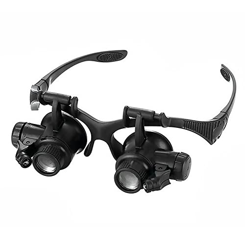 enjoymentlin 10/15/20/25x Uhr Stirnband Lupe Brille mit LED Kopf Schmuck Lupe beleuchtet Uhrmacher...