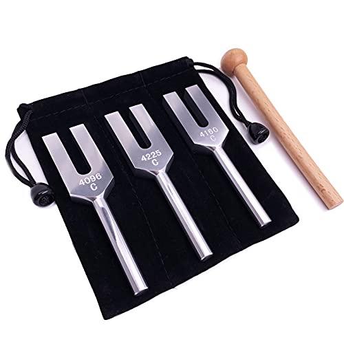Engel Stimmgabeln Set - 4096Hz 4160Hz 4225Hz für Heilung Musikinstrument, mit Holzhammer und...