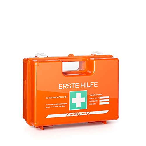 Erste Hilfe Kasten mit Inhalt nach DIN 13157 I Inkl. praktischer Wandhalterung und Plombe I Erste...