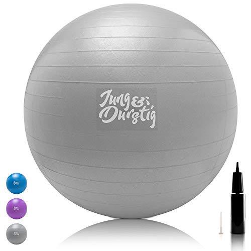Jung & Durstig Gymnastikball inkl. Luftpumpe   Yoga und Pilates Ball 65 cm bis 150 kg belastbar  ...