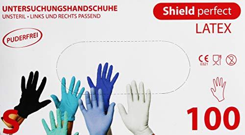 100x Latexhandschuhe puderfrei'Shield perfect' weiss Größe L Handschuhe Einweghandschuhe...