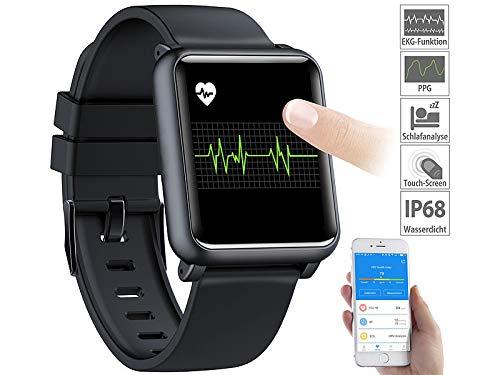 Newgen Medicals Fitnessuhr: Fitness-Uhr mit EKG- & Blutdruckanzeige, Bluetooth, Touchdisplay, IP68...
