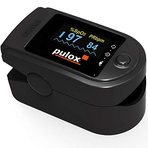 Pulsoximeter PULOX PO-200 Solo in Schwarz Fingerpulsoximeter für die Messung des Puls und der...
