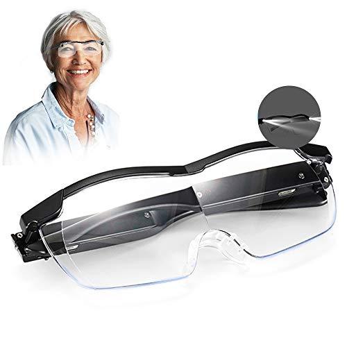 Aooeou Lupenbrille mit Licht als Lesehilfe und Sehhilfe,250% Vergrößerungsbrille mit 2 LED Lichts...