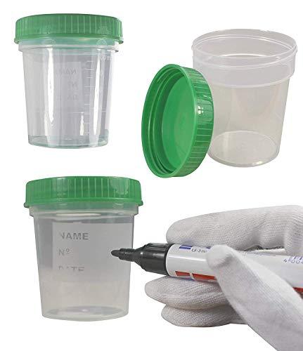 MEDI-INN Urinbecher mit Schraubdeckel grün   25 Stück   auslaufsicher & gefriertauglich   125 ml...