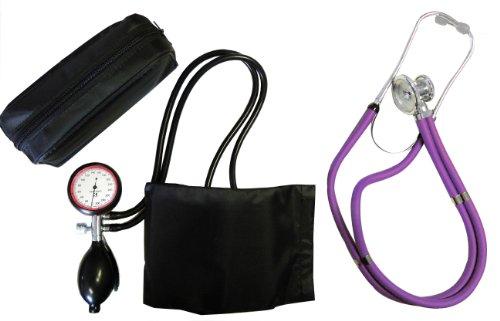 Blutdruckmessgerät 2-Schlauch Oberarm + Rappaport Doppelschlauch Stethoskop violett Doppelkopf...