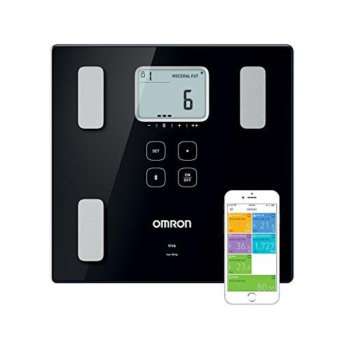Die smarte Körperanalysewaage OMRON VIVA mit Bluetooth misst Körperfett, Gewicht, Viszeralfett,...