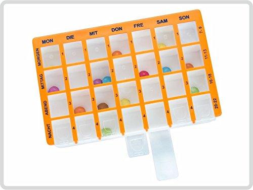 Arzneikassette Pillendose 7-Tage, 1 Woche, Orange - Pillenbox Tablettenbox