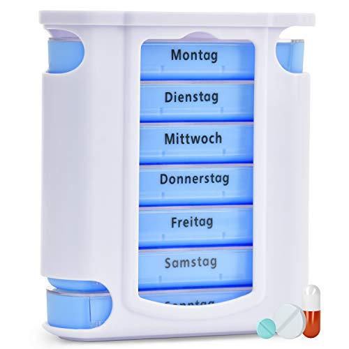 Pillenbox | Premium Pillendose für 7 Tage - 1 Woche | Tablettendose Tablettenbox Wochendispenser...