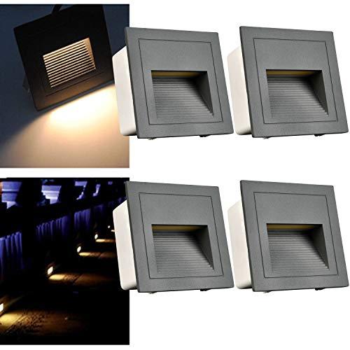 Arotelicht 4er Set 3W LED Wandeinbauleuchte Wandeinbaustrahler Treppenlicht Wandleuchte Stufenlicht...