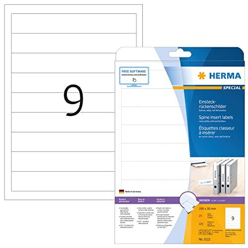 HERMA 5122 Einsteckrückenschilder für Ordner DIN A4 kurz/schmal, 32er Set (190 x 30 mm, 800 Blatt,...