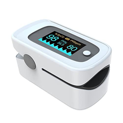 MOMMED Sauerstoffsättigung Messgerät Finger, Pulsoximeter mit Alarm ideal zur schnellen Messung...