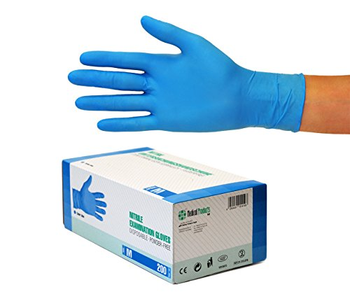 Nitrilhandschuhe 200 Stück Box (M, Blau) Einweghandschuhe, Einmalhandschuhe,...