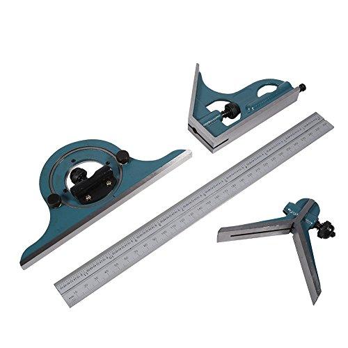 Kombi-Quadrat-Set mit Winkelmesser, Edelstahl-Universal-Fase 180-Grad-Winkel...