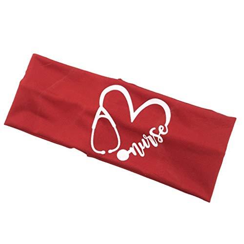 Unisex Krankenschwester-Stirnband, niedliches Stethoskop, Herzaufdruck, schützt Ohren