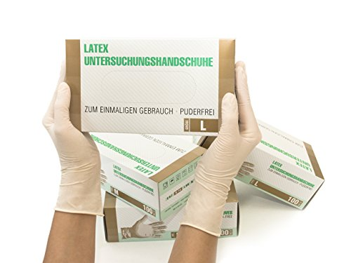 Latexhandschuhe 1000 Stück 10 Boxen (L, Weiß) Einweghandschuhe, Einmalhandschuhe,...