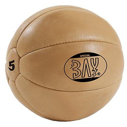BAY® LEDER PU 5 Kilo Medizinball, Profi-Qualität, Gymnastik / Fitness Ball, Farbe BRAUN, fünf...