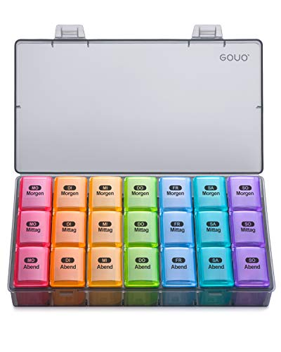 Amazon Brand – Eono Tablettenbox 7 Tage 3 Fächer - Medikamentenbox Pillendose Morgens Mittags...