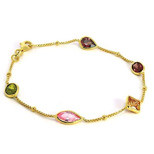 Gold getauchtes 925 Sterlingsilber Box-Kette Armband mit CZ Kristallen
