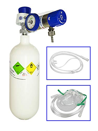 Mobiles Sauerstoff-Notfallsystem - 0,8 Liter medizinischer Sauerstoff (Leichtstahlflasche) mit...