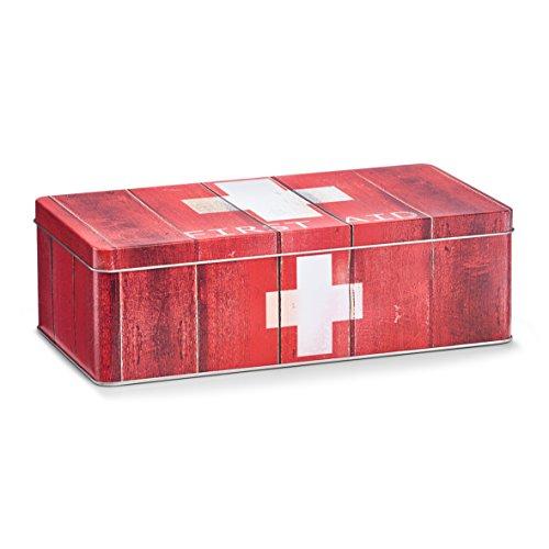 Zeller 19233 Medizin-Box 'First Aid', Metall, rot, ca. 26,2 x 13,8 x 8,2 cm