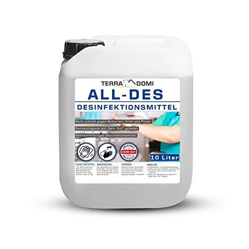 TerraDomi All-Des 10 Liter Desinfektionsmittel ohne Parfüm für Hände und Flächendesinfektion...