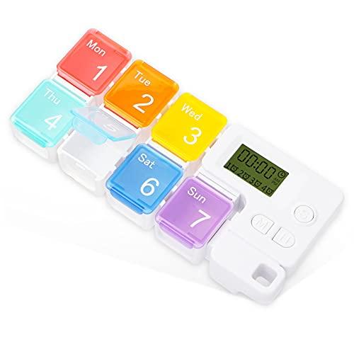 Lyneun Tablettenbox 7 Tage Medikamentenbox Woche tragbarer Medikamentendosierer Alarm Timer...