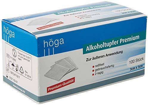 Höga-Pharm Alkoholtupfer Premium, zur äußeren Anwendung, reißfest, gebrauchsfertig, 2 lagig, 1er...
