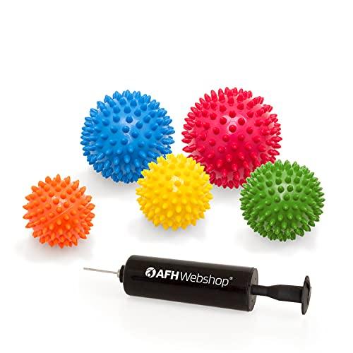 5er SPAR SET mit Pumpe | Massagebälle mit Noppen | Noppenbälle | Igelbälle | Arthro Sensorik Ball...