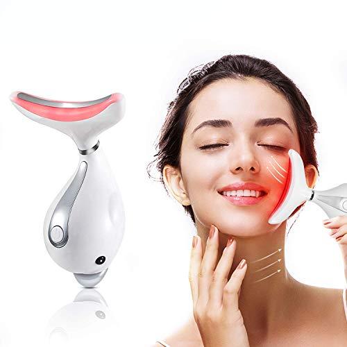 PELCAS Gesichts massagegerät Anti Alterung Hals Augenmassagegerät, 45℃ Wärme Anti-Falten...
