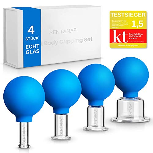Sentana® Schröpfgläser mit Saugball [4 Stück] - Hochwertiges Schröpfglas Set aus Echtglas für...