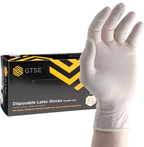 GTSE 100 Stück, Einweg-Latexhandschuhe weiß, puderfreie Schutzhandschuhe, Größe M