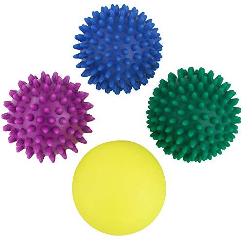BB Sport Massageball 4er Set Igelbälle in verschiedenen Härtegraden Massagebälle mit Noppen