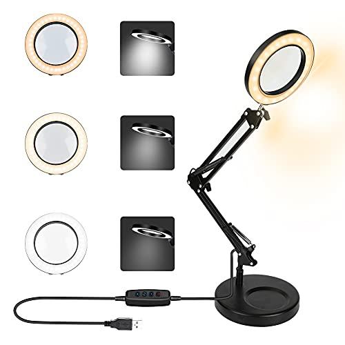 LED Lupenbrille Kopflupe mit Licht Achort 3-Farben-Beleuchtete Lupenlampen Dimmbar...