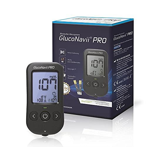 GlucoNavii Diabetes-Set, Messeinheit mg/dl, mit 10 Blutzuckerteststreifen, angenehme Stechhilfe ink....
