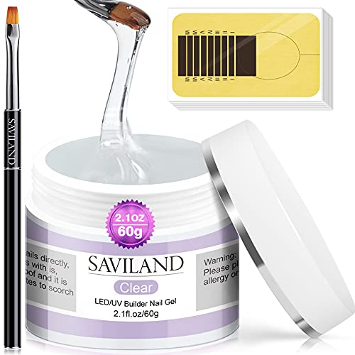 Saviland 60g aufbaugel für gelnägel set - Klares Nagelverlängerungs gelnägel Set Nagelstärken...