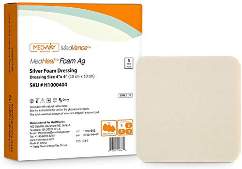 Medvance Silver Foam Ag Sterile Wundkompresse, sehr saugfähig, antibakteriell, ohne PU-Rückseite,...