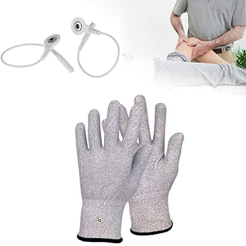 Zyxdk Silberfaser Leitfähige Handschuhe mit Adapterkabeln TENS/EMS-Gerät Physiotherapie zum...