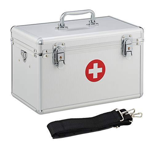 Relaxdays Erste Hilfe Koffer, Verbandskasten Alu mit Tragegurt, leer, Medizinbox für Notfälle,...